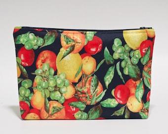 Fruity Makeup Bag Waterproof Navy Grape Lemon Peach Lined Clutch Purse