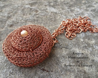 Copper Necklace Conteporary Copper Pendant Necklace Hand Crochet