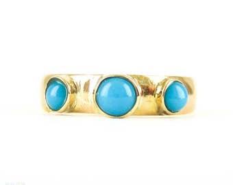 Antique 22 Carat Gold Wedding Ring Set with Three Turquoise. Ladies Gemstone Ring, Circa 1880s, Size L.5 / 6.