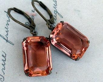 On Sale Smokey Peach,Vintage Estate Style Transparent Peach Rectangular Peach Jewel Earrings by Hollywood Hillbilly