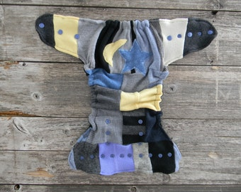 Upcycled Wool Nappy Cover Diaper Wrap Cloth Diaper One Size Fits Most Crazy Patchwork Scrappy With Star And Moon Applique/ Black