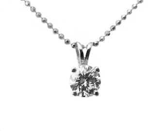 Ready to be Shipped within 3 days SALE Diamond Pendant Solitaire Pendant 4.5mm 14K Yellow or White gold chain included