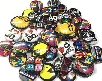 """I Love the 80's Magnet, 1"""" Button Magnet, 80s Magnet, 80's Party Favors, 80s Theme, 80's Decor, 80's Fridge Magnet, 80s Theme Party"""