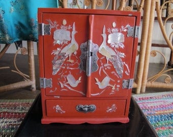 Asian Lacquer Large Jewelry Box Mother of Pearl Peacocks Red Tall Vintage Jewelry Box w/ Drawers Orange Jewelry Armoire