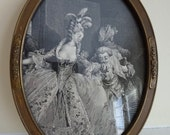 RESERVED Listing -Vintage Ornate Oval Gilt Frame with Raised Details - Black and White Marie Antoinette and Louis XVI Print - Print Only