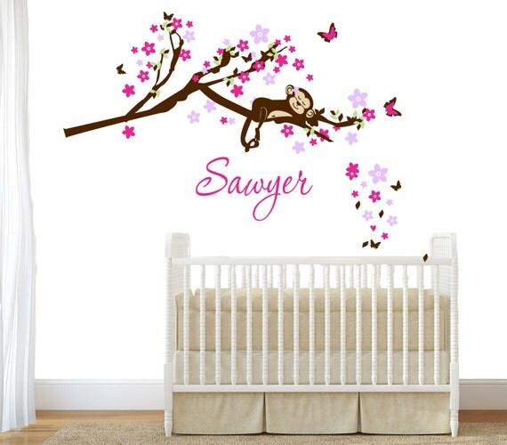 Nursery wall decal sleeping monkey - Blossom Cherry with Monkey  wall decal for Nursery, kids room. Cuter Jungle and Safari themes