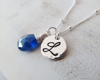 Personalized Initial Any birthstone necklace. Gold or Silver. Initial. Custom. Personalized Birthstone jewelry. Sapphire jewelry. Kyanite.
