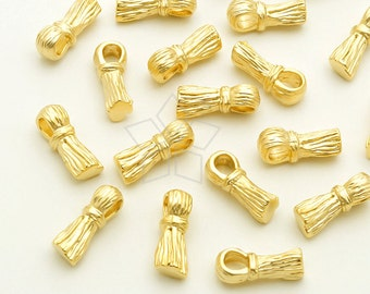 PD-1793-MG / 2 Pcs - Tiny Metal Tassel Pendant, Small Tassel Charm, Matte Gold Plated over Brass / 4mm x 10mm