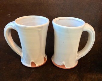 Handmade White Pottery Mugs, Set of 2 Earthenware Coffee Mugs, Micaceous Red Clay, New Mexico Coffee Mugs Set, 12 oz. with Fatty Handles.