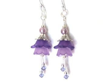 Purple Flower Earrings - Tanzanite Crystal Stamens - Pale Lilac Pearls - Dark Purple Flower Petals - Silver Earrings - Light Purple
