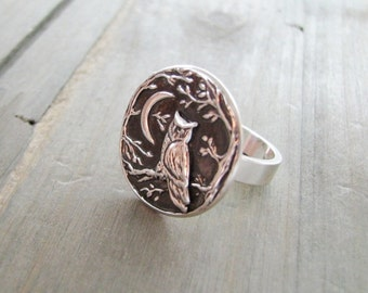 Night Owl No. 2 Ring, Fine Silver, Recycled Silver, Original and Exclusive, by SilverWishes