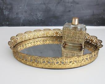 Vintage Mirror Vanity Tray | Mirror Bar Tray | Bathroom Tray | Perfume Tray | Bar Tray | Gold Tray | Vintage Vanity Tray | Oval Mirror Tray