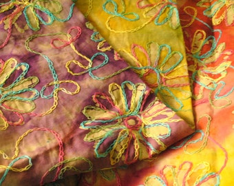 Batik, Embroidered Batik, Flower Embroidered Batik, 3-D Fabric, Multi Color Batik, Tropical Fabric, Floral Batik, Tropical, Boho,