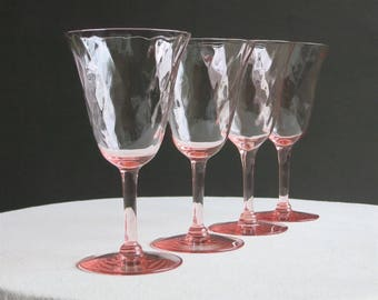 Set of Four Pink Depression Glass Goblets - Diamond Optic Glass - Blush Rose Pastel Wine Water Glasses 1930s Possibly Tiffin