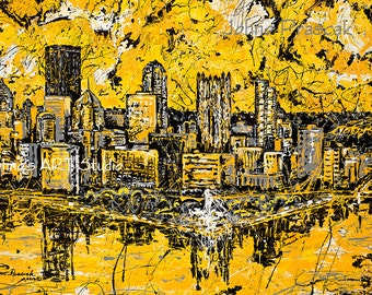 Metal print, 20 x 30, Pittsburgh Skyline art, Modern wall art, Pittsburgh Artist, Black n Gold, Three Rivers ,The Point,  by Johno Prascak