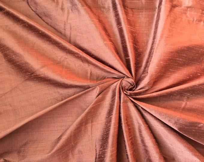 "Copper Coffee Brown 100% dupioni silk fabric yardage By the Yard 45"" wide"