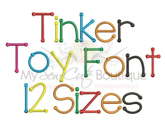 Tinker Toy Embroidery Font - Machine Embroidery Designs - 12 Sizes Included - BX Format Included
