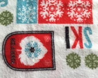 Vintage Fabric-  Ski Fabric - Novelty Cotton Flannel Fabric - Vintage Ski - Quilting Fabric - Retro Fabric - Ski Country
