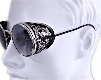 Steampunk Goggles Aviator Sunglasses Silver Side Shields Victorian engrave vintage Driving glasses Gradient Gray Shade