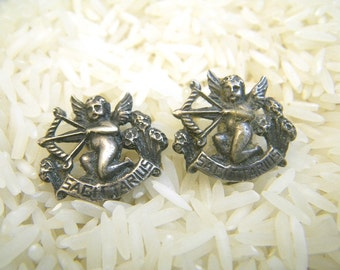 Cini Sagittarius Sterling Silver Clip Earrings Cupid Bow & Arrow Archer