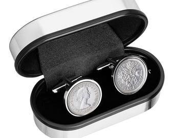 Wedding Cufflinks- Old English lucky wedding sixpence-  Genuine England sixpence coins - 100% satisfaction