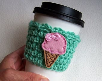 Crochet Coffee Cup Cozy - Ice Cream Cone