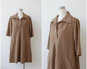 1960's Maskit Dress Mod Coat Dress Camel Brown Coat Dress Shirt Dress Tent