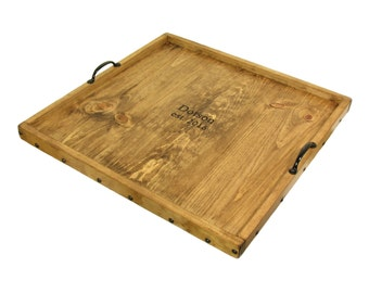 Ottoman Tray Personalized, Serving Tray Engraved, Decorative Wood Tray, Breakfast Tray, Beverage Tray, Charger, Salver, Service Platter