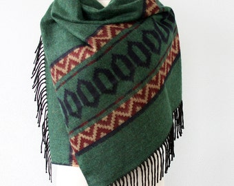 Green blanket scarf native american clothing tribal scarf large winter scarf aztec wrap hippie shawl fashion scarves christmas gift for her