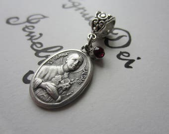 St Gemma Medal & Dark Red Glass Charm Pendant Necklace Patron Saint Medal Italy Catholic Jewelry Religious Back Injury Illness Pharmacist