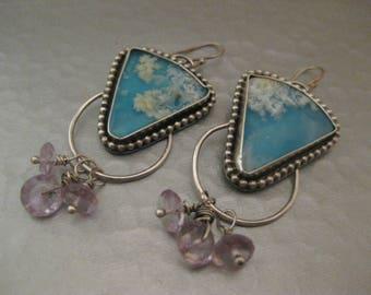 Regency Plume Agate and Pink Amethyst Sterling Silver Art Deco Earrings