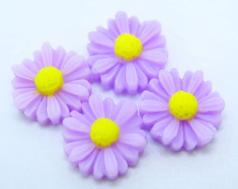4PCS - Daisy Flower Cabochons - 12mm - Pale Lilac Purple Daisy Cabochons - Purple Flower Cabochons