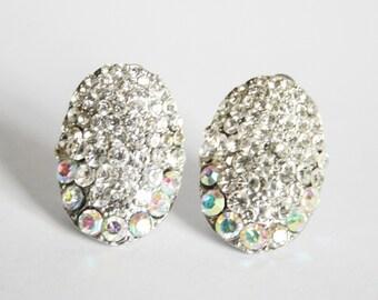 Vintage crystal earrings.  Clip on earrings