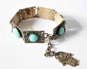 Vintage Hamsa bracelet. Hand of Fatima bracelet