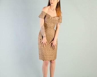 Birthday Sale - Vintage 1950's Fawn Silk Eyelet Dress