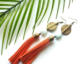 Statement tassel earrings//boho chic tassel earrings//gemstone earrings- African statement earrings//bohemian jewelry// The Tatianna