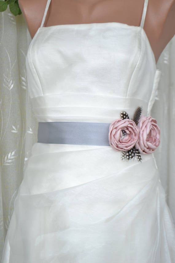 Handcrafted Pink and Grey Two Flowers With Feathers Wedding Bridal Sash Belt