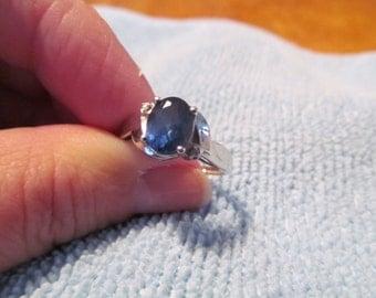 Vintage Faux Sapphire Diamond 10k White Gold ring