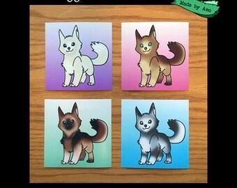 "Doggo Color Mutations, set of 4, 4""X4"" mini prints"
