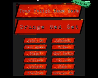 stock panel art for twitch channel - Red Grunge Set
