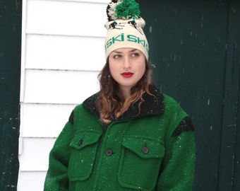 Vintage 1950's Point Blanket Coat // 50s Green Carss Mackinaw Coat // Outdoor Adventurer // Winter Coat