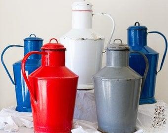 Vintage European Large Enamel Lidded Milk Jugs