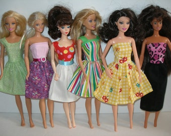 Handmade clothes for Barbie - mixed lot of 6 print dresses