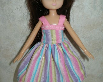 """Handmade 7"""" doll clothes for Lottie - pink stripe dress"""
