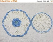 Going Out Of Business Vintage Crochet Roses Pot Holders-Set of 2