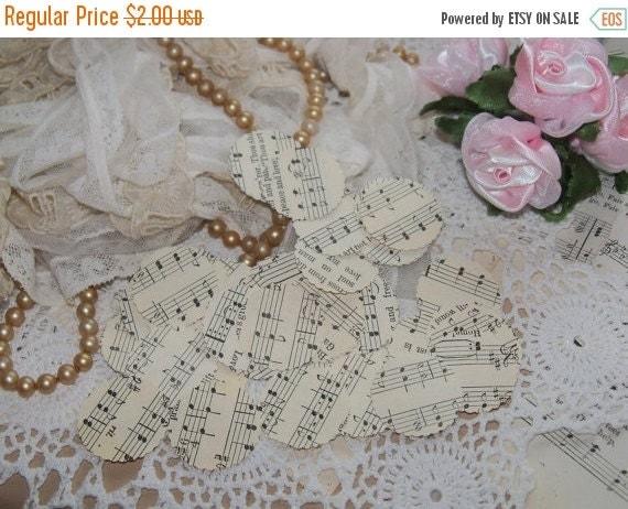 ON SALE Vintage Sheet Music Paper Bitties-Embellishments-Ephemera-Punches-Scrapbooking