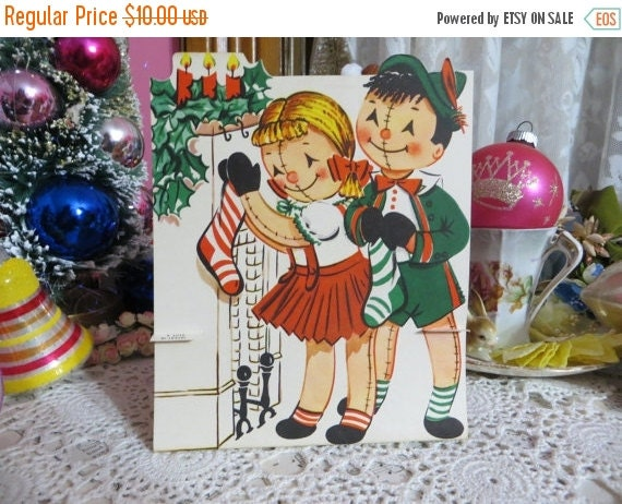 ON SALE Vintage Retro Mid Century Christmas Greeting Card-Cute Dolls-Unused-Childrens-Stand-Up-3-D