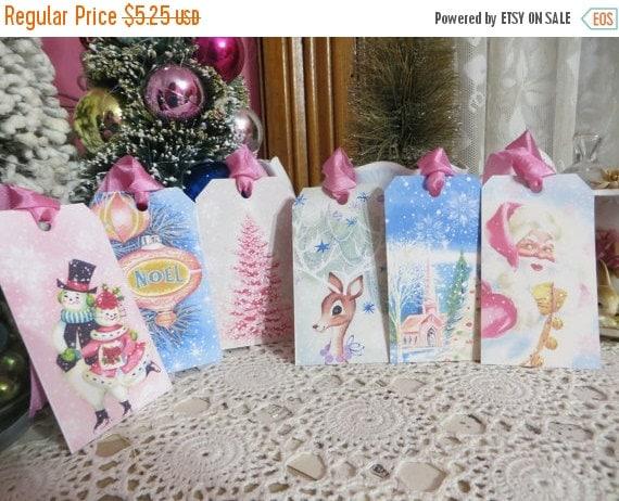 ON SALE Retro Mid Century Pink Christmas Tags-with vintage Seam Binding Ties-Set of 6-ATC