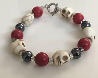 Beaded White Howlite Skull Bracelet with Hematite beads