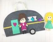 Glamper doll set, dress up doll, felt doll, paper doll set, camping set, camper, glamper
